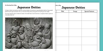 Japanese Deities Activity Sheet - challenge, research, home, education, learning, religion, other, culture, belief, information,japanese gods, japanese mythology, worksheet
