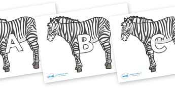 A-Z Alphabet on Zebras - A-Z, A4, display, Alphabet frieze, Display letters, Letter posters, A-Z letters, Alphabet flashcards