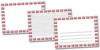 Red Bus Landscape Page Borders- Landscape Page Borders - Page border, border, writing template, writing aid, writing frame, a4 border, template, templates, landscape