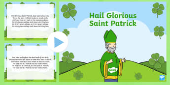 Hail Glorious Saint Patrick Song PowerPoint - St. Patrick, Ireland, song, hymn, traditional song,Irish
