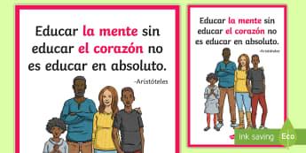 Póster DIN A2: Educar la mente - póster, póster DIN A2, educar la mente, aristóteles, frases, motivación, mural, exponer, exposic