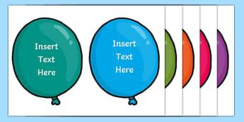 Editable Birthday Balloons Display Pack