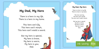 My Dad, My Hero Poem - Canada Father\'s Day 18th June, father, dad, father's day, poem, poetry