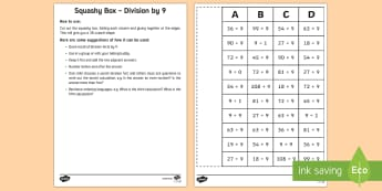 Squashy Boxes Division by 9 Craft - Mental Maths Warm Up + Revision - Northern Ireland, squashy boxes, division, divide by 9