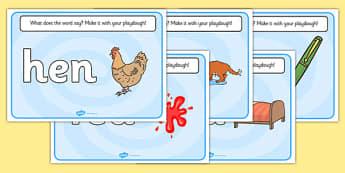 CVC Word Playdough Mats (e) - CVC, CVC word, playdough mat, playdough, three phoneme words, three sound words, consonant vowel consonant, words, three letter words, letters and sounds, DfES letters and sounds