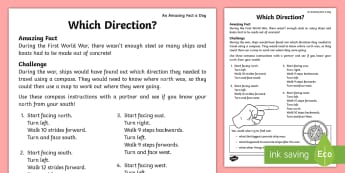 Which Direction? Activity Sheet - july amazing fact, compass, directions, KS1, geography, maths, amazing fact, worksheet