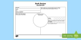 Book Review Activity Sheet English/German - reading, writing, books, ks2, EAL, German, English-German,,German-translation, worksheet