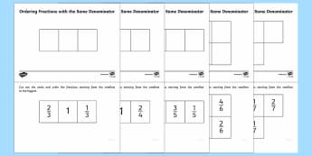 Ordering Fractions with the Same Denominator Activity - Fractions, fractions with the same denominator, Y3, Year 3, ordering, order
