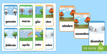 Mesi dell'Anno Flashcards Italian - mesi, dell, anno, flashcards, italiano, italian, colorate, stagioni, colorare, classe, alunni