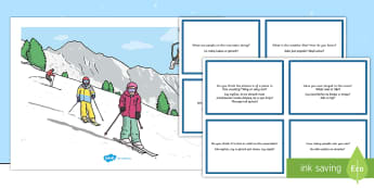 Winter Sports Scene and Question Cards English/Polish - Winter Sports Scene and Question Cards - winter sports, scene, questions, cards, wnter, wintre,Polis