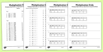 Multiplying 4-Digit Numbers by 1 Digit Numbers Using Grid Method Activity Sheet Pack - Multiplication, grid method, KS2, key, stage, 2, upper, maths, multiply, formal, written, method, worksheet