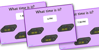 Digital Clock Matching PowerPoint Version 2-digital clock, matching, matching powerpoint, version two, clock, clock powerpoint, digital clock powerpoint