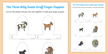 The Three Billy Goats Gruff Finger Puppets - finger, puppets