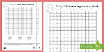 FA Cup 2017 Arsenal Legends Word Search - Secondary - Event - FA Cup Final 27/05/17