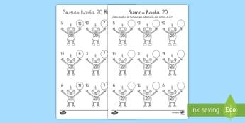 Ficha de actividad: Sumas hasta 20 - Robots - enlaces numéricos, sumas, sumar, hasta 20, números, adición, sustracción, sustraer, menos, más,