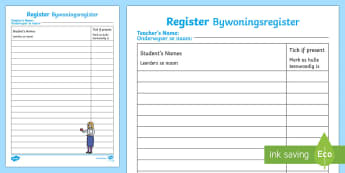School Role Play Register English/Afrikaans - School Role Play Register - School Role Play Pack, school role play, register, teacher, stickers, ce