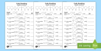 Place Value Code Breaking Activity Sheets Polish/English - Year 2 Maths Mastery, Place Value, digit, number, value, position, units, ones, tens, hundreds, thou