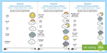 Weather Word and Picture Matching Activity Sheet English/Romanian - Weather Word and Picture Matching Worksheet - season, match, sort, waether, WHEATHER, wetaher, weahe