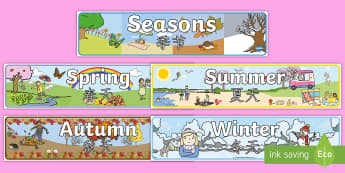 Four Seasons Display Banner English/Mandarin Chinese - Four Seasons Display Banner (All Seasons) - Seasons, season, autumn, winter, spring, summer, fall, s