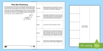 Mini Bat Dictionary Activity Sheet - worksheet, nocturnal, nature, animals, bats, research, habitat, diet