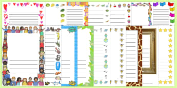 A4 Page Borders Variety Pack - writing aid, writing template