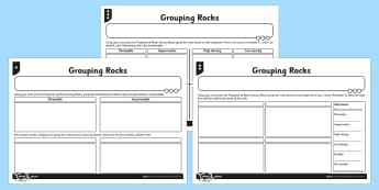 Grouping Rocks Activity Sheet - activity, grouping, rocks, group, worksheet