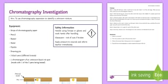 Chromatography Investigation Instruction Sheet Print-Out - Investigation Help Sheet, science practical, method, instructions, separation, solvent, soluble, sol