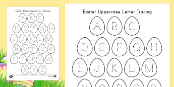 Easter Uppercase Alphabet Tracing Activity Sheet - Easter, Tracing, Handwriting, Fine Motor Skills, Center Activity, ELA, Language Arts, Easter Eggs