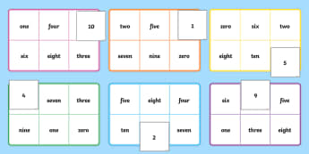 Number Bingo 1-10 - number game, bingo, 0-10, Number names, Number words, Numerals, Foundation Numeracy, Number recognition, Number flashcards, numeracy, numbers, number names, numbers to 10, 1-10, bingo