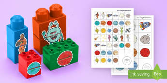 Space-Themed Matching Connecting Bricks Game - EYFS, Early Years, KS1, Connecting Bricks Resources, duplo, lego, plastic bricks, building bricks, s