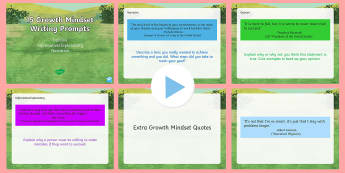 Growth Mindset Writing Prompts PowerPoint - US Requests, mindset, quotes, inspiration, thinking skills, questions, opinion, argument, informativ