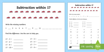 Subtraction within 17 Activity Sheet - NI KS1 Numeracy, subtraction within 17, worksheet, take away