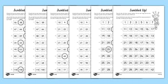 Jumbled Up Number Ordering Differentiated Activity Sheet, worksheet