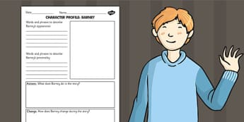 Stig of the Dump Barney Character Profile Worksheet - story books