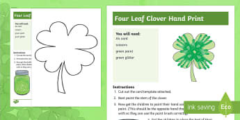 Four Leaf Clover Handprint Activity - NI, St. Patrick\'s Day, St. Patrick, Clover, four leaf clover, leaf, shamrock