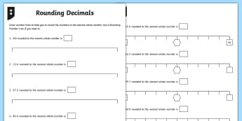 Rounding Decimals Differentiated Activity Sheets - decimals, decimal number, rounding, whole number, one decimal place, 1 decimal place, tenths, worksh