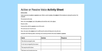 KS3 Active and Passive Voice Activity Sheet - ks3, active, passive, voice, activity, sheet, worksheet