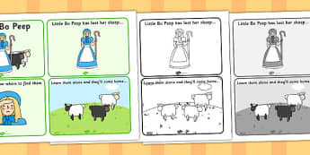 Little Bo Peep Sequencing (4 per A4) - Little Bo Peep, nursery rhyme, sequencing, rhyme, rhyming, nursery rhyme story, nursery rhymes, Little Bo Peep resources, sheep
