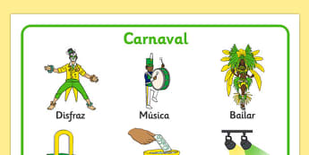 Tapiz de vocabulario Carnaval - carnaval, disfraces, fiestas nacionales