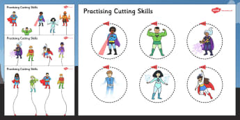 Superhero Themed Scissor Skills Activity Sheet Pack - superhero, scissor skills, activity, sheets, fine, motor, worksheet