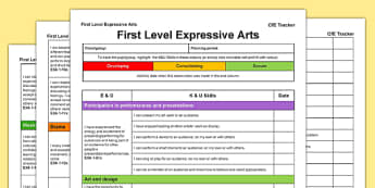 Expressive Arts CfE First Level Tracker - CfE, planning, tracking, arts, art , music, drama, dance, I can, Early