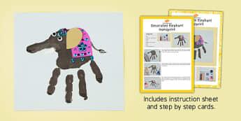 Decorated Elephant Handprint Craft Instructions - decorated, elephant, handprint, craft, instructions