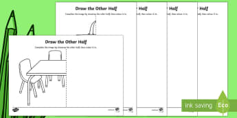 Back to School Draw the Other Half Activity Sheet - Back to School, school equipment, symmetry, worksheet, activity sheet, drawing, art, Australia