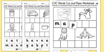 CVC Words Cut and Paste Activity Sheet a - CVC worksheets, CVC words, literacy, phonics, fine motor, cvc, cutting