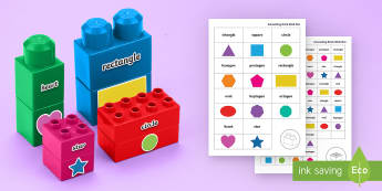 2D Shape Names Matching Connecting Bricks Game - EYFS, Early Years, KS1, Connecting Bricks Resources, duplo, lego, plastic bricks, building bricks, M
