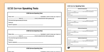 GCSE German Speaking Test Appointment Slip Template - GCSE, Speaking Template, Exam, Test, Admin