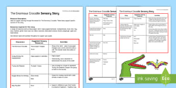 The Enormous Crocodile Sensory Story - The Enormous Crocodile, Roald Dahl, sensory story, crocodile, interactive story telling