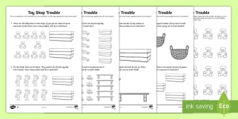 Toy Shop Trouble! Activity Sheets - Year 1, Maths Mastery, Multiplication, multiply, times, lots of, times tables, divide, division, pro