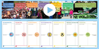 General Election 2017: Political Parties Information PowerPoint Pack - manifesto, parliament, scottish parliament, welsh assembly, theresa may, jeremy corbyn, tim farron,