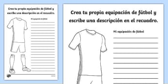 Design a Football Strip Activity Sheet, worksheet